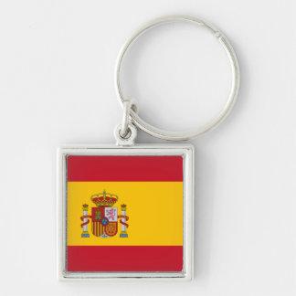 Bandera española llavero cuadrado plateado