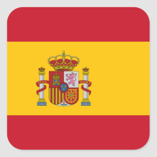 Bandera española pegatina cuadrada