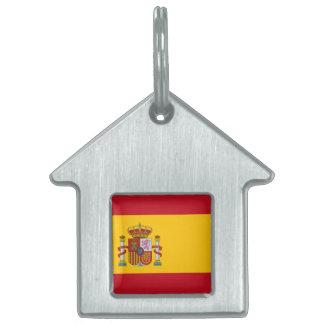 Bandera española placas de nombre de mascota