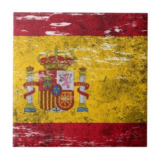 Bandera española rascada y llevada azulejos