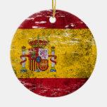 Bandera española rascada y llevada ornamento para arbol de navidad