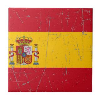 Bandera española rascada y rasguñada azulejos cerámicos