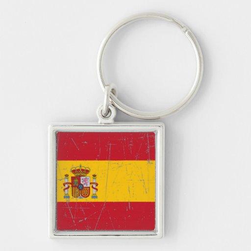 Bandera española rascada y rasguñada llavero