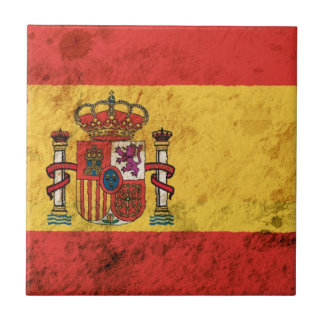 Bandera española rugosa teja  ceramica