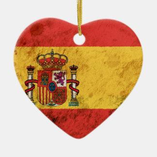 Bandera española rugosa ornamento de navidad