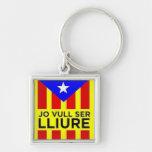 Bandera Estelada Catalana Llavero Cuadrado Plateado
