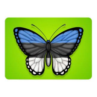"""Bandera estonia de la mariposa en verde invitación 5"""" x 7"""""""