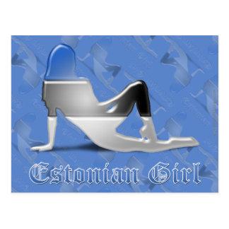 Bandera estonia de la silueta del chica postal