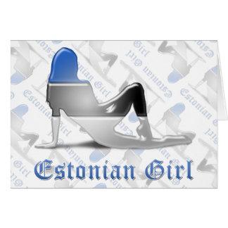 Bandera estonia de la silueta del chica tarjeta de felicitación