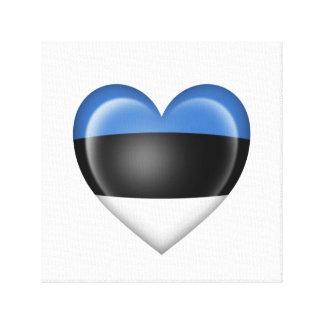 Bandera estonia del corazón en blanco impresiones en lienzo estiradas