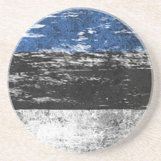 Bandera estonia rascada y llevada posavasos de arenisca