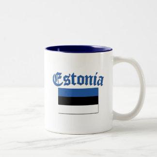 Bandera estonia taza de dos tonos