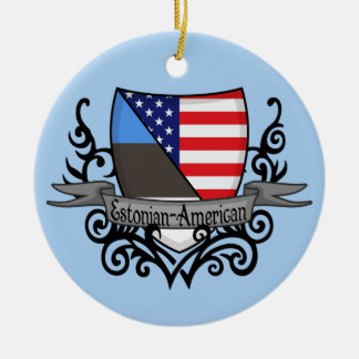 Bandera Estonio-Americana del escudo Adorno Redondo De Cerámica