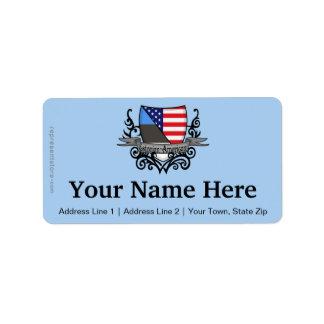 Bandera Estonio-Americana del escudo Etiquetas De Dirección