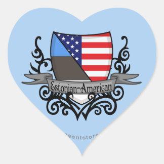 Bandera Estonio-Americana del escudo Pegatina En Forma De Corazón