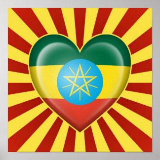 Bandera etíope del corazón con los rayos de Sun Póster