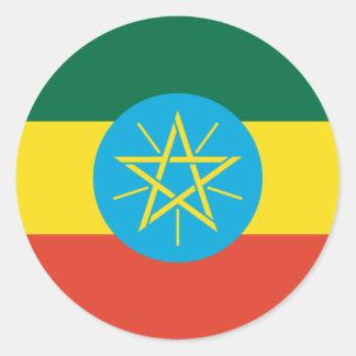 Bandera etíope etiqueta redonda