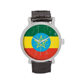 Bandera etíope rascada y rasguñada reloj de mano