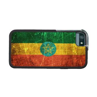 Bandera etíope rasguñada y llevada del vintage