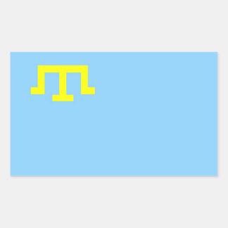 Bandera étnica de la gente tártara crimea pegatina rectangular
