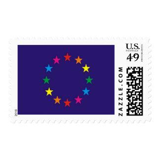 Bandera europea del orgullo gay sellos