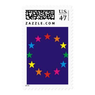Bandera europea del orgullo gay timbre postal