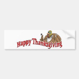 Bandera feliz de Turquía de la acción de gracias Pegatina De Parachoque