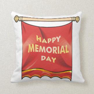 Bandera feliz del Memorial Day Almohada
