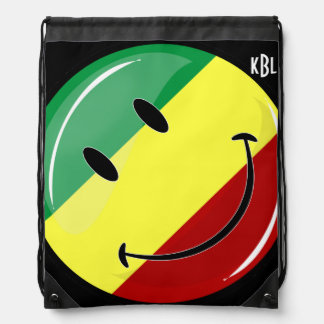 Bandera feliz redonda brillante de Rasta Mochila