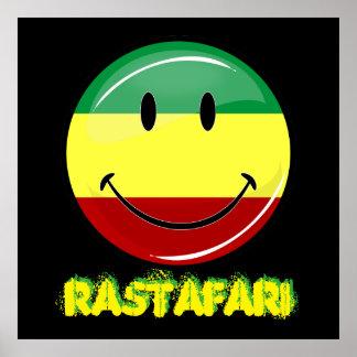 Bandera feliz redonda brillante de Rasta Póster