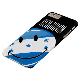 Bandera feliz redonda brillante del Honduran Funda Para iPhone 6 Plus Barely There