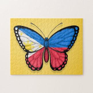 Bandera filipina de la mariposa en amarillo rompecabezas con fotos