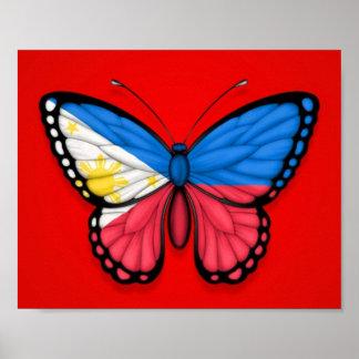Bandera filipina de la mariposa en rojo impresiones