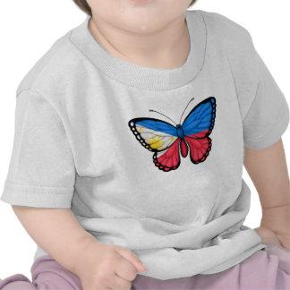 Bandera filipina de la mariposa camiseta