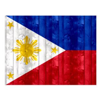 Bandera filipina de madera tarjetas postales