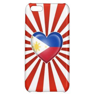 Bandera filipina del corazón con la explosión de l