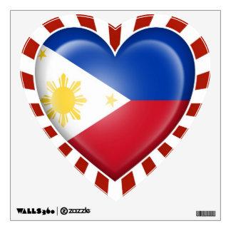 Bandera filipina del corazón con la explosión de l vinilo