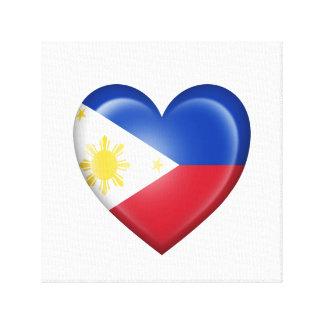 Bandera filipina del corazón en blanco lona estirada galerias