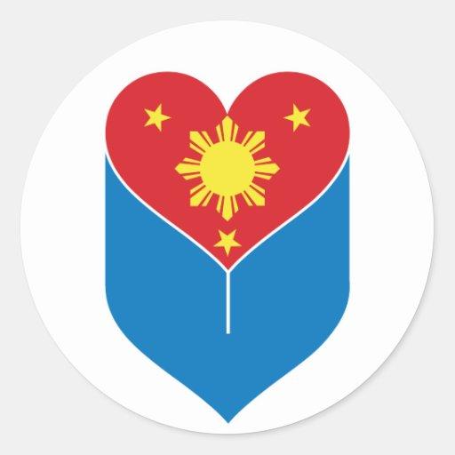 Bandera filipina del corazón pegatina redonda