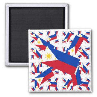 Bandera filipina en las capas coloridas múltiples  imán cuadrado