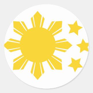 ¡Bandera filipina - orgullosa ser Pinoy! Pegatina Redonda