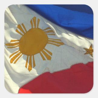 bandera filipina pegatina cuadradas