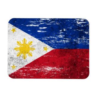 Bandera filipina rascada y llevada imanes rectangulares