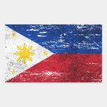 Bandera filipina rascada y llevada rectangular pegatinas