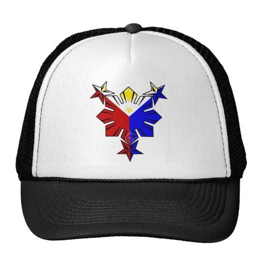 Bandera filipina Sun y gorra de las estrellas
