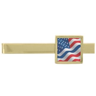 Bandera fina de Blue Line los E.E.U.U. Alfiler De Corbata Dorado