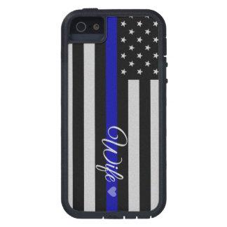 Bandera fina de la esposa de Blue Line iPhone 5 Cárcasa