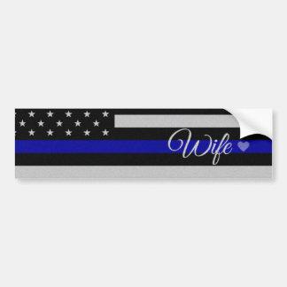 Bandera fina de la esposa de Blue Line Pegatina Para Auto