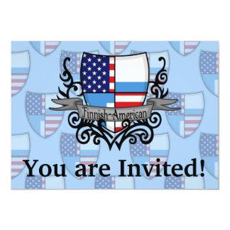 """Bandera Finlandés-Americana del escudo Invitación 5"""" X 7"""""""