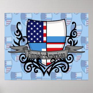 Bandera Finlandés-Americana del escudo Póster